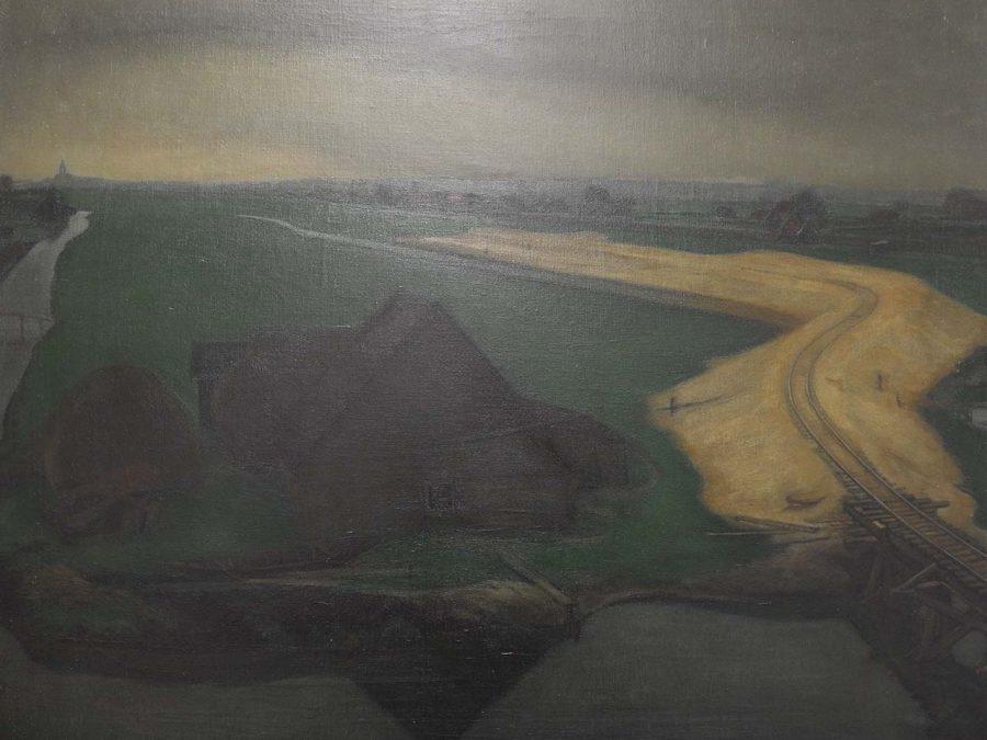 Henk Meijer - landschap met aanleg spoorbaan