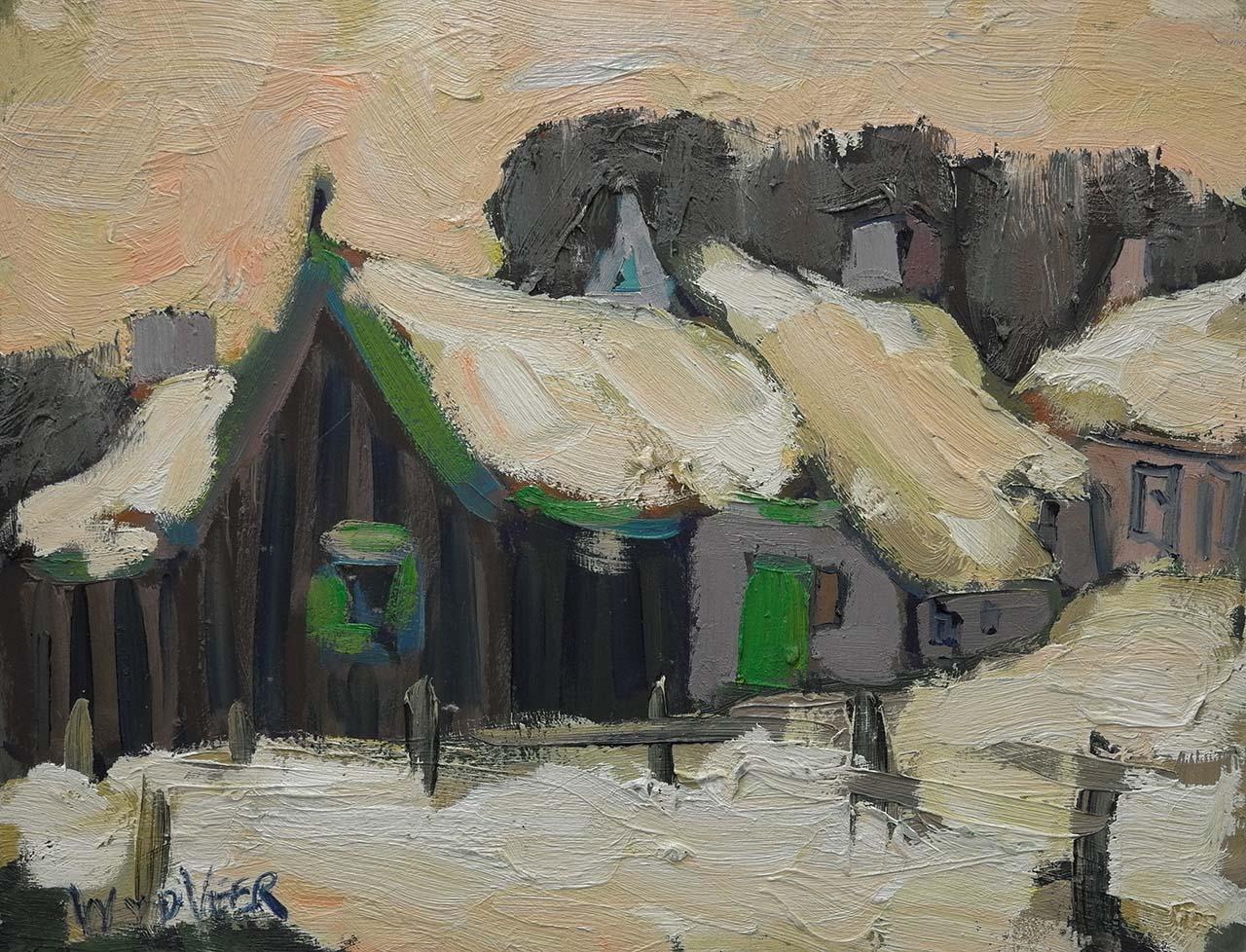 Wim van der Veer - Dorpje in de sneeuw