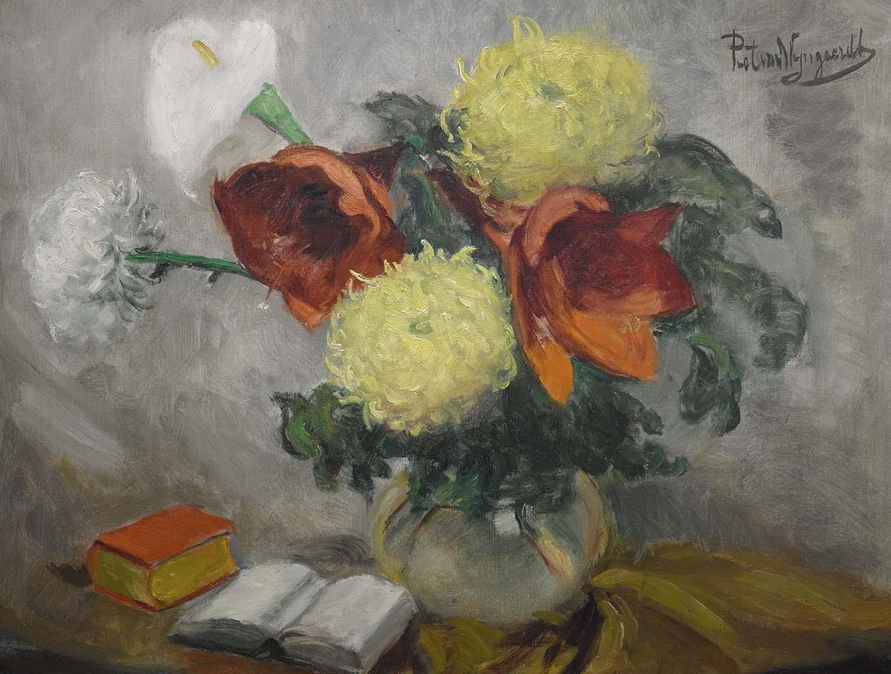 Piet van Wijngaerdt - Bloemstilleven met boeken