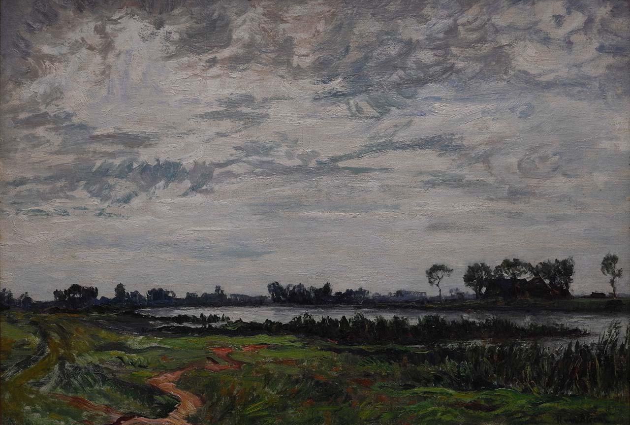 Hendrik van Bloem - Landschap met plassen en boerderij