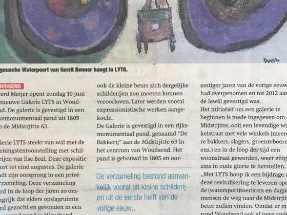 Tjeerd Meijer opent in Midstrjitte Galerie LYTS, Sneeker Nieuwsblad