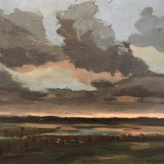 Wim van der Veer - Landschap met poel