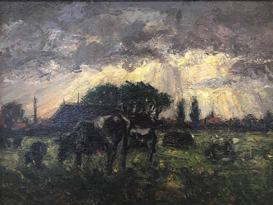 Jan Stroosma - Koeien in de wei onder Leeuwarden